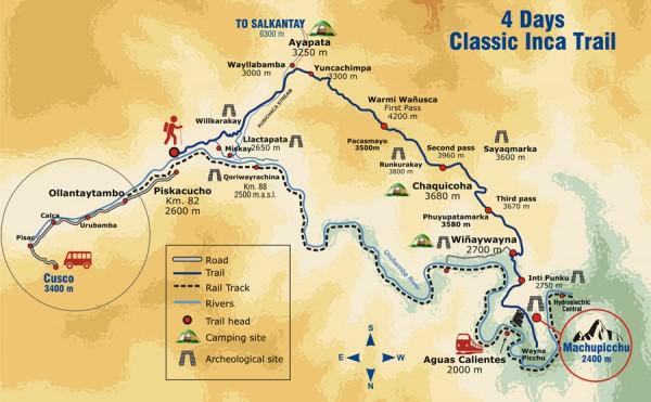 Aguas Calientes Peru Map.Inca Trail Classic 4day 3night Private Service Sas Travel Peru